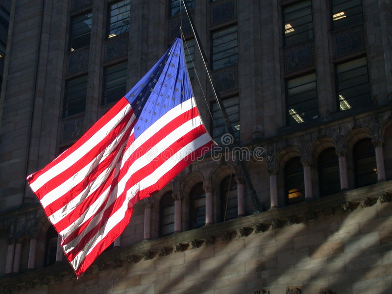 Bandeira americana em New York City fotografia de stock