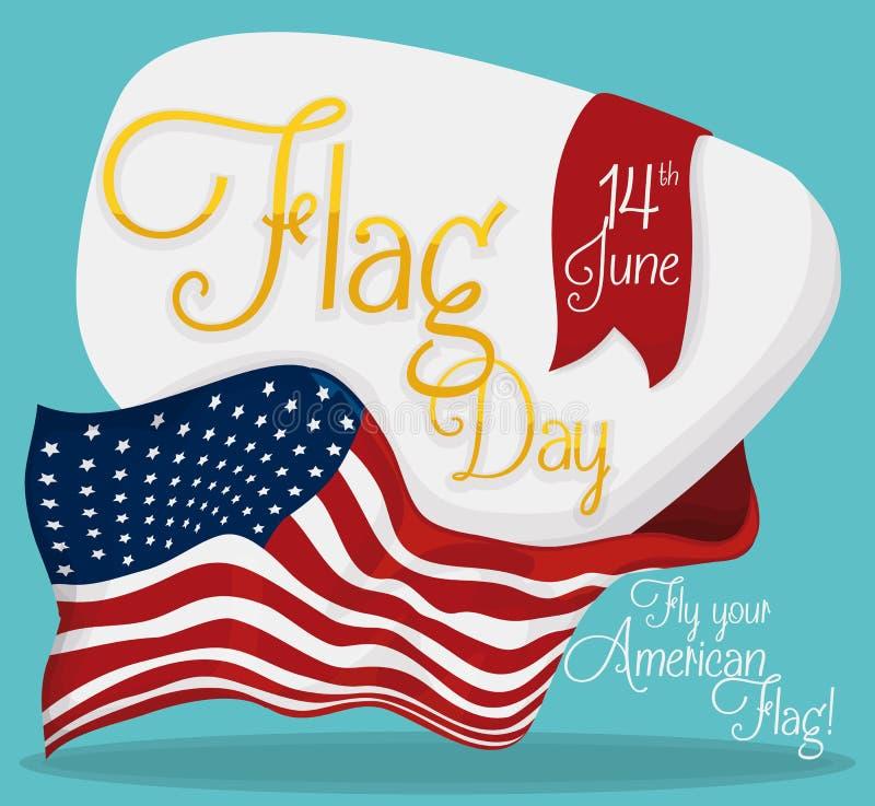 Bandeira americana em torno do sinal comemorativo para o dia de bandeira, ilustração do vetor ilustração stock