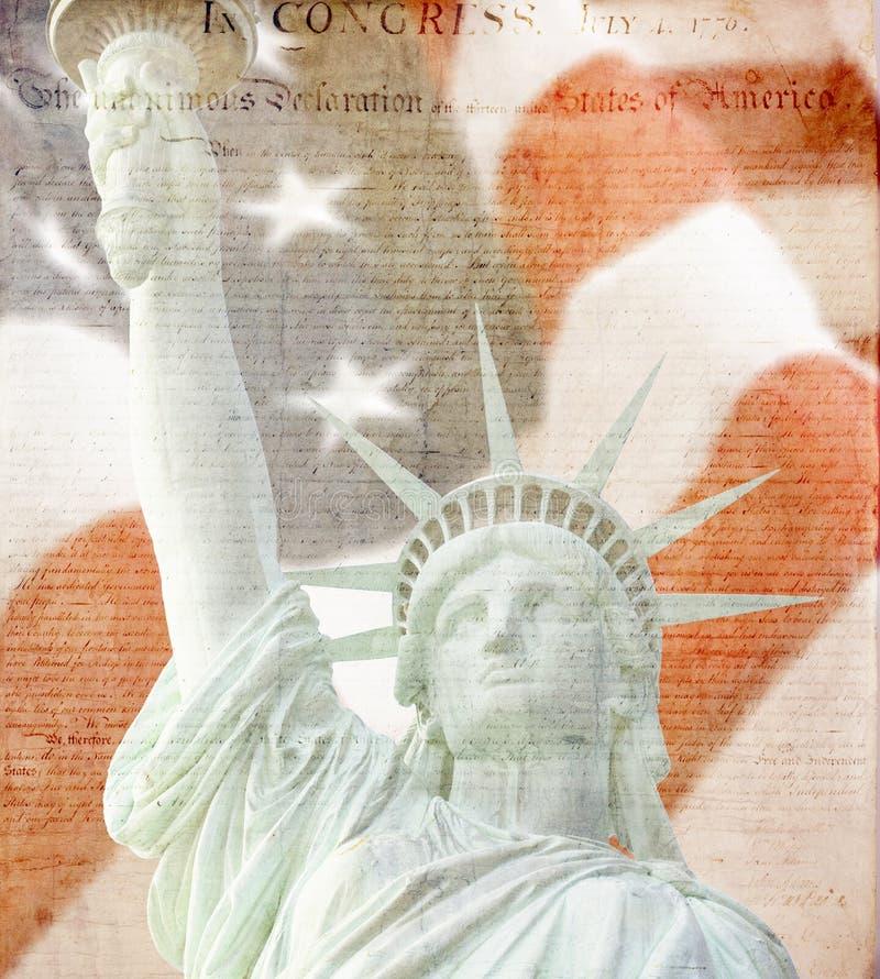 Bandeira americana, estátua de liberdade, constituição fotos de stock