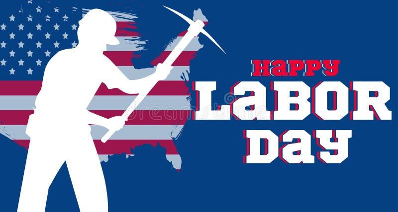 Bandeira americana feliz do Dia do Trabalhador ilustração stock