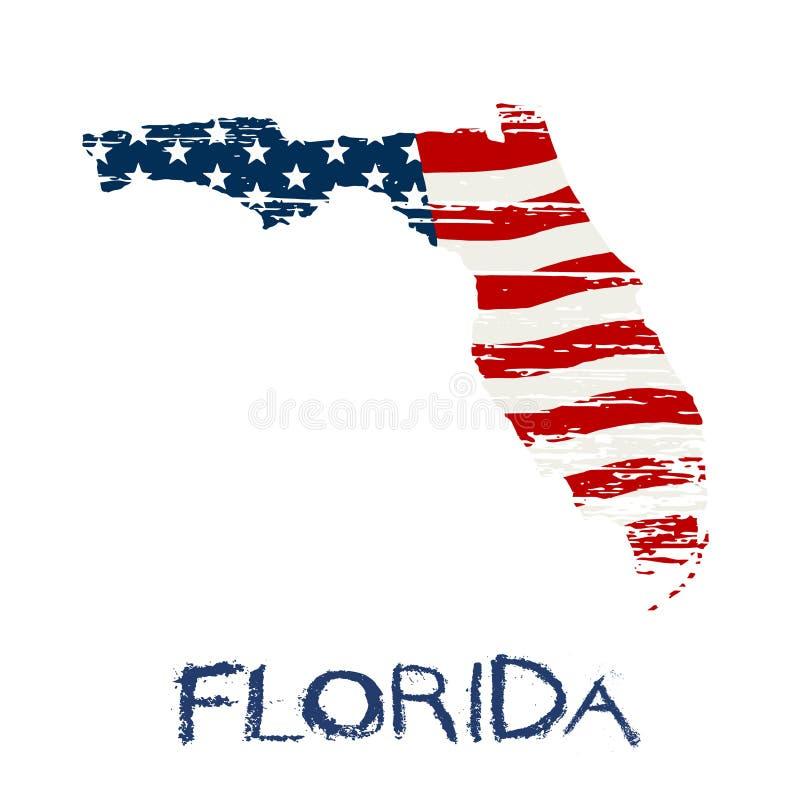 Bandeira americana na ilustração do mapa de Florida ilustração royalty free