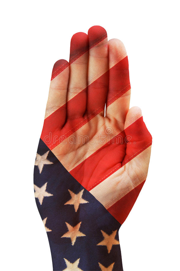 Bandeira americana na mão fotos de stock royalty free