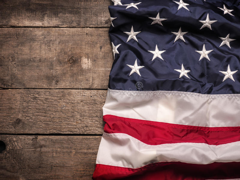 Bandeira americana na madeira imagens de stock royalty free