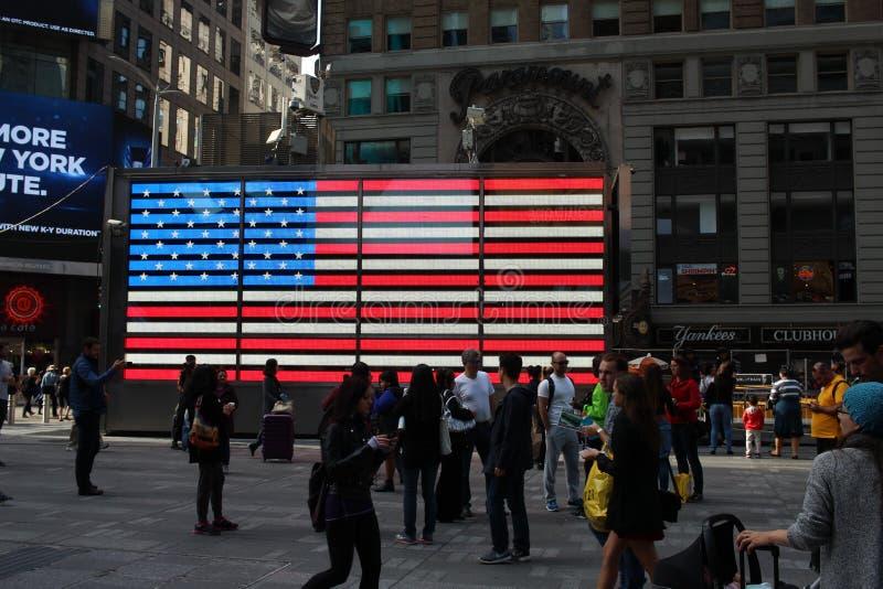 Bandeira americana no Times Square fotografia de stock