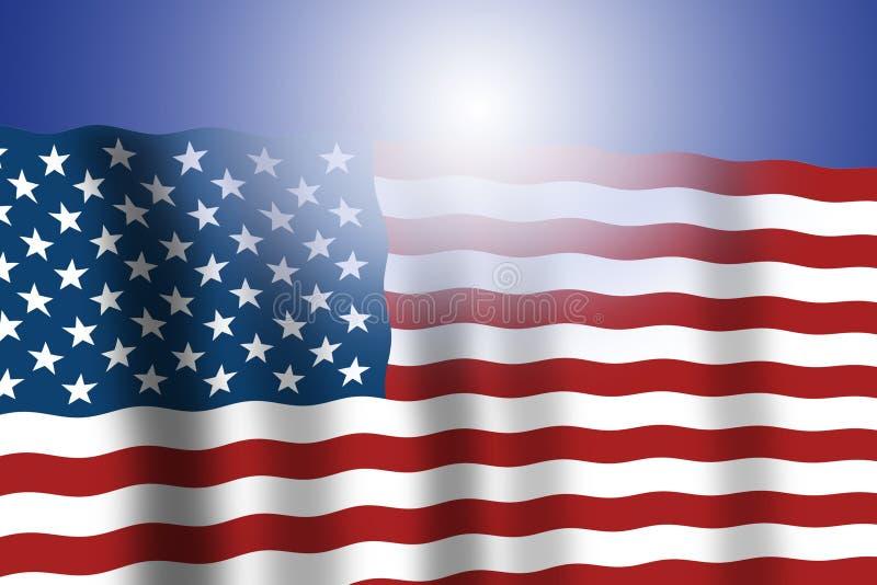 Bandeira americana que acena com fundo azul e reflexão clara ? julho Os EUA estão comemorando o feriado patriótico ilustração do vetor
