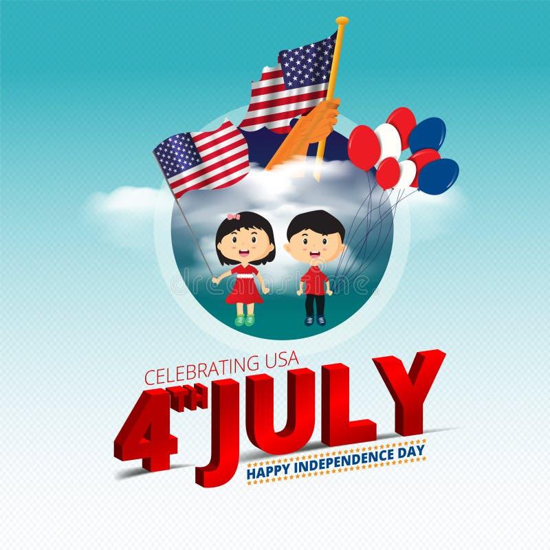 Bandeira americana que acena na mão do homem em balões 4ns da bandeira das nuvens e das crianças do céu azul de mes americanos da ilustração stock