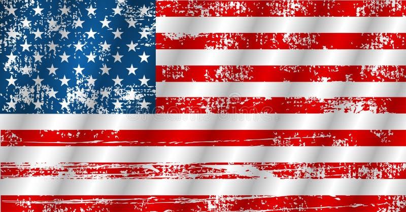 Bandeira americana que acena no estilo do grunge, ilustração do vetor ilustração stock
