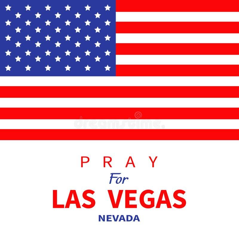 Bandeira americana Rezar para Las Vegas Nevada Tributo às vítimas do tiro da massa do ataque do terrorismo LV no 1º de outubro de ilustração stock