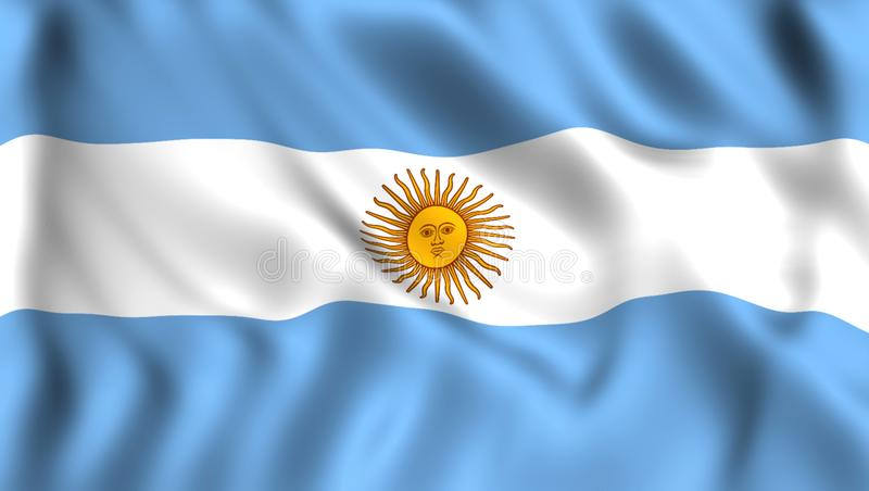 Bandeira argentina que acena no vento ilustração royalty free