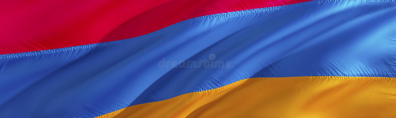 Bandeira arménia Bandeira de Arménia projeto de ondulação da bandeira 3D Rendição vermelha, azul e alaranjada da bandeira 3D O sí fotos de stock