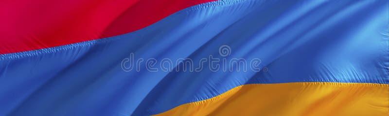 Bandeira arménia projeto de ondulação da bandeira da rendição 3D O símbolo nacional de Armênia projeto de ondulação do sinal 3D F foto de stock royalty free