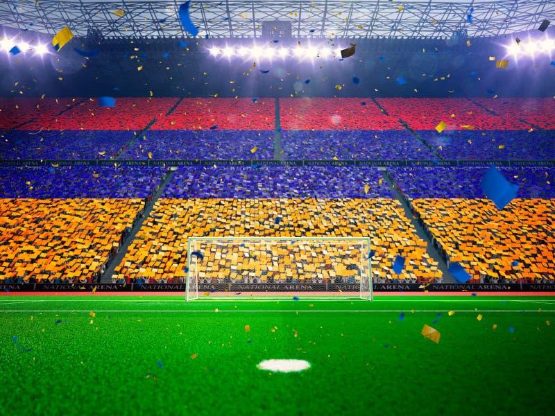 Bandeira Armênia dos fãs Azul da arena do estádio da noite imagens de stock royalty free