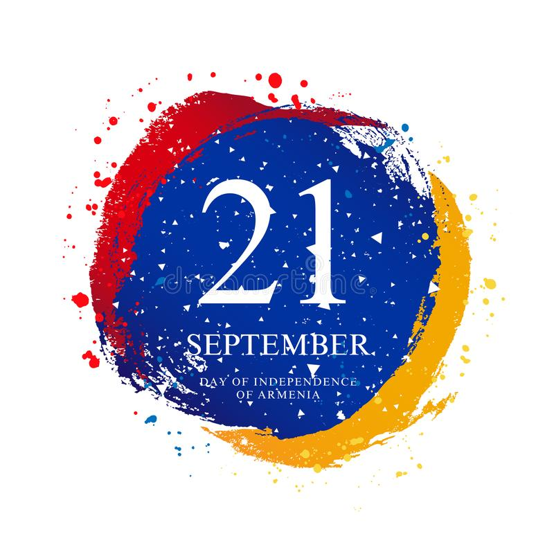 Bandeira armênia na forma de um círculo 21 de setembro - Dia da Independência de Armênia ilustração do vetor
