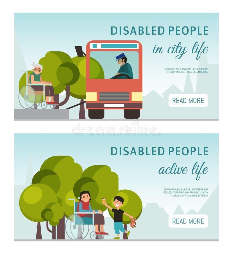 A bandeira ativa da vida do peolple deficiente teve desvantagens pessoas adultas das crianças na ilustração do vetor da cadeira d ilustração royalty free