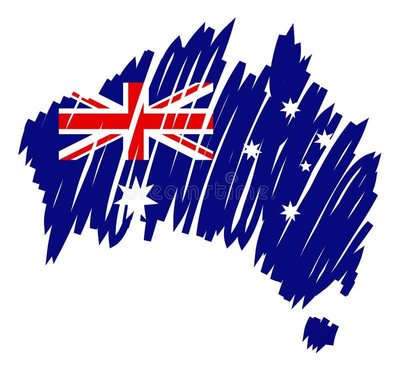 Bandeira Austrália do mapa de Vecto ilustração do vetor