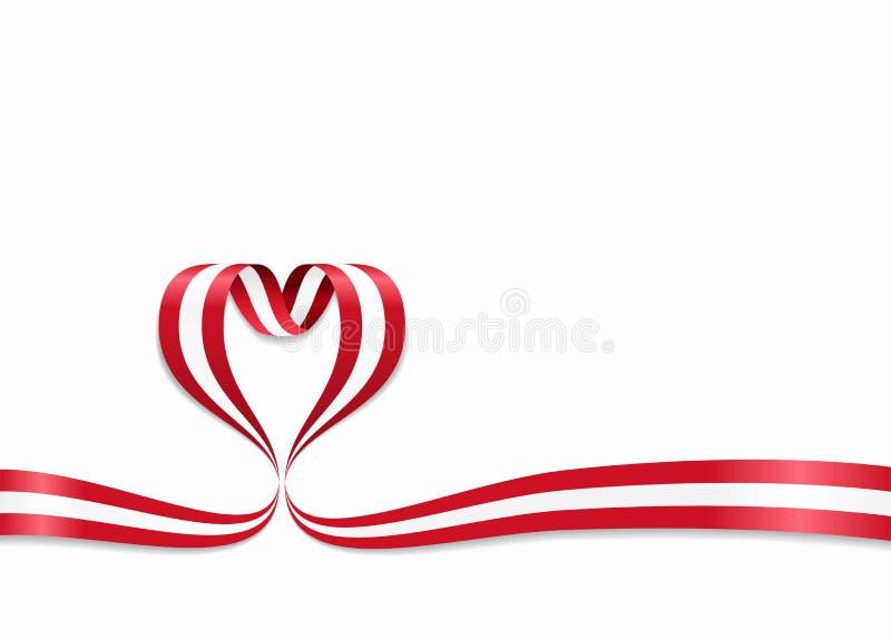 Bandeira austríaca fita coração-dada forma Ilustração do vetor ilustração stock