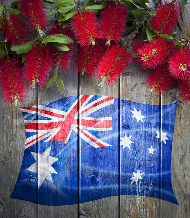 A bandeira australiana floresce o fundo