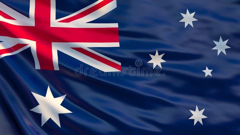 Bandeira australiana Ilustração australiana de ondulação da bandeira 3d ilustração royalty free