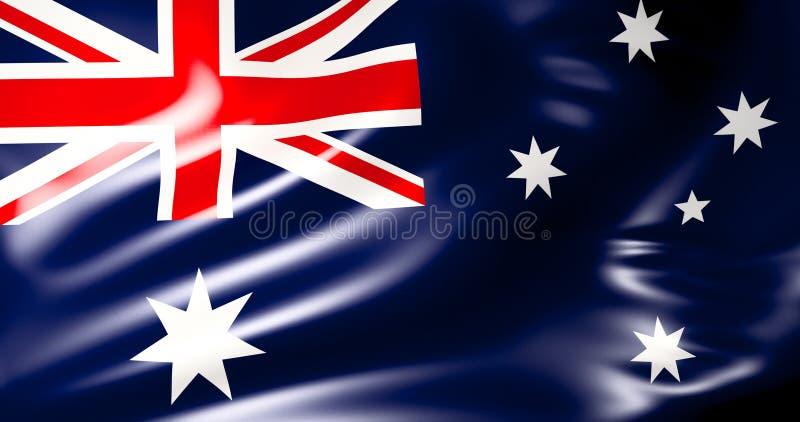 Bandeira australiana Ilustração australiana de ondulação da bandeira 3d qualidade 4K ilustração royalty free
