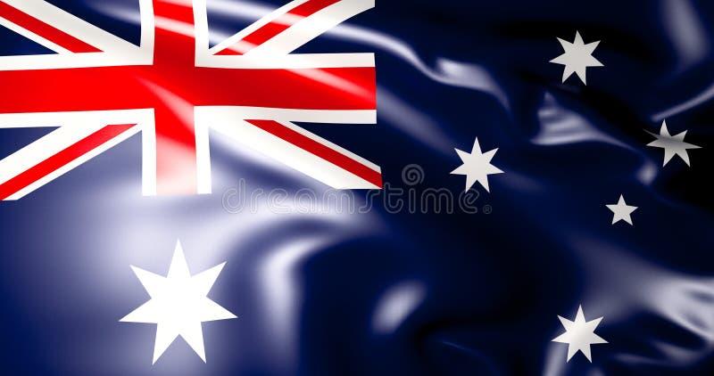 Bandeira australiana Ilustração australiana de ondulação da bandeira 3d qualidade 4K ilustração do vetor