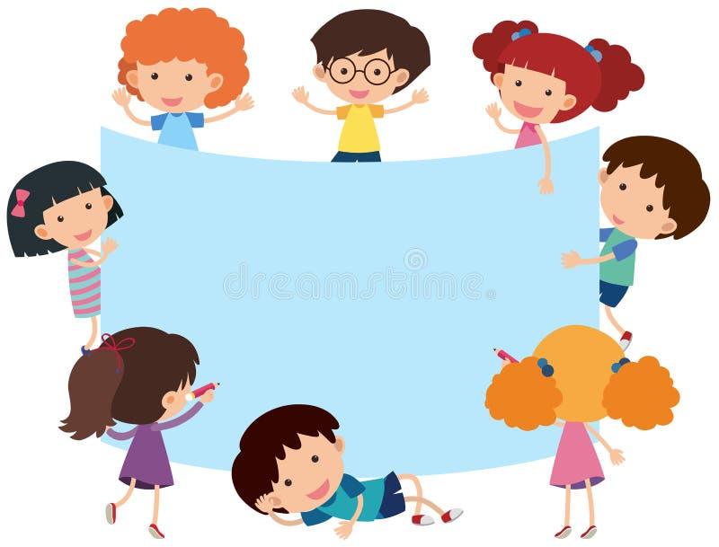 Bandeira azul com crianças felizes ilustração royalty free