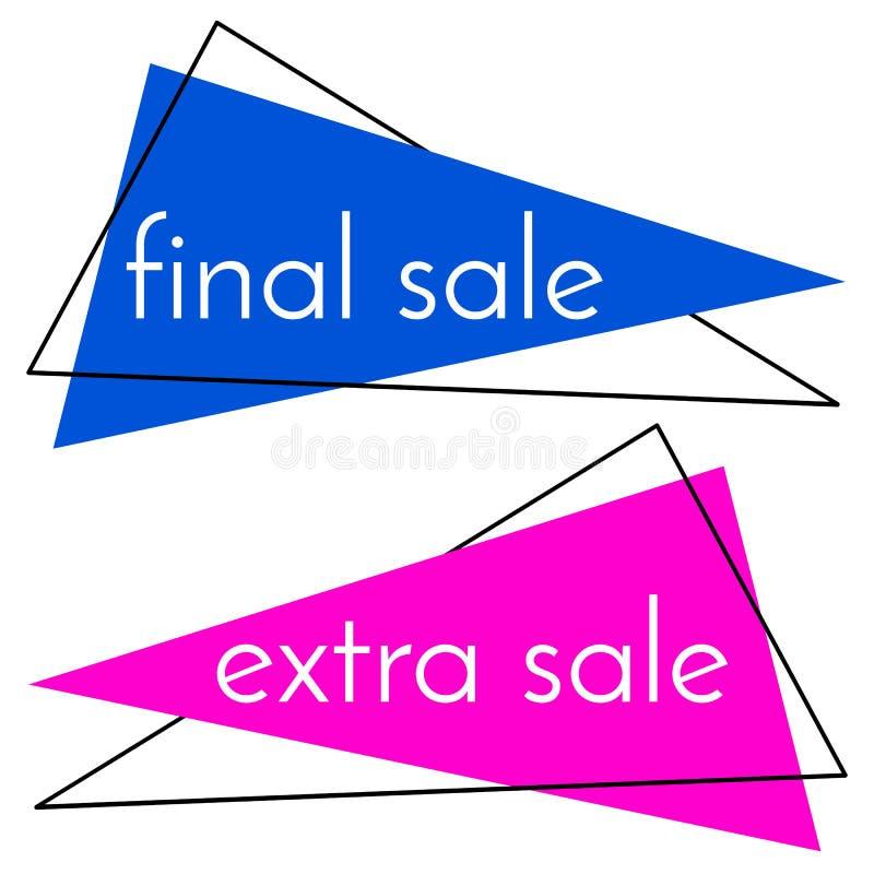 A bandeira azul da venda final e a venda extra picam a bandeira no fundo branco ilustração do vetor