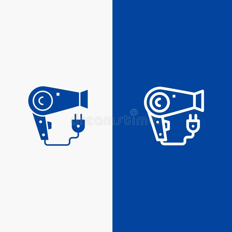 Bandeira azul do ícone contínuo do secador, do cabelo, do Hairdryer, da linha da tomada e do Glyph ilustração do vetor
