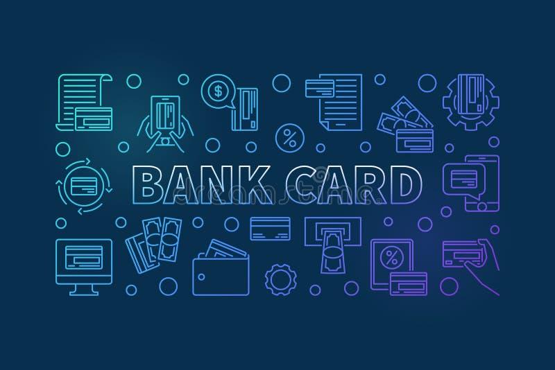 Bandeira azul do cartão de banco na linha estilo fina Ilustração do vetor ilustração stock