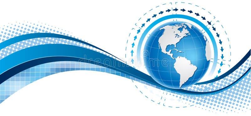 Bandeira azul do globo ilustração do vetor