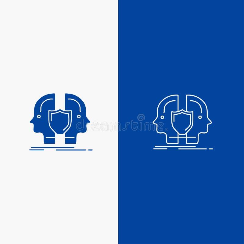 Bandeira azul do homem, da cara, a dupla, do ícone contínuo azul da linha e do Glyph de bandeira do ícone contínuo da identidade, ilustração do vetor