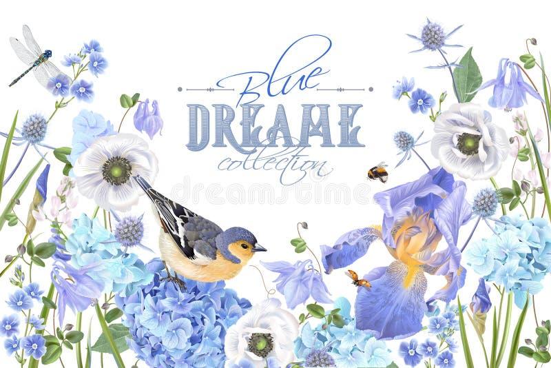 Bandeira azul do pássaro da flor ilustração stock