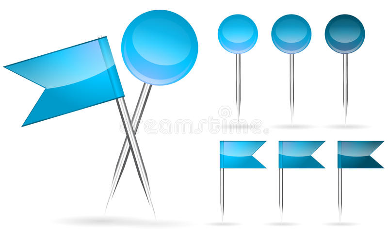 Bandeira azul e pino redondo ilustração do vetor
