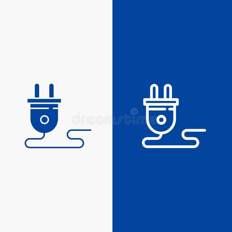 Bandeira azul elétrica, do ícone contínuo azul da linha e do Glyph de bandeira do ícone contínuo da energia, da tomada, da fonte  ilustração royalty free