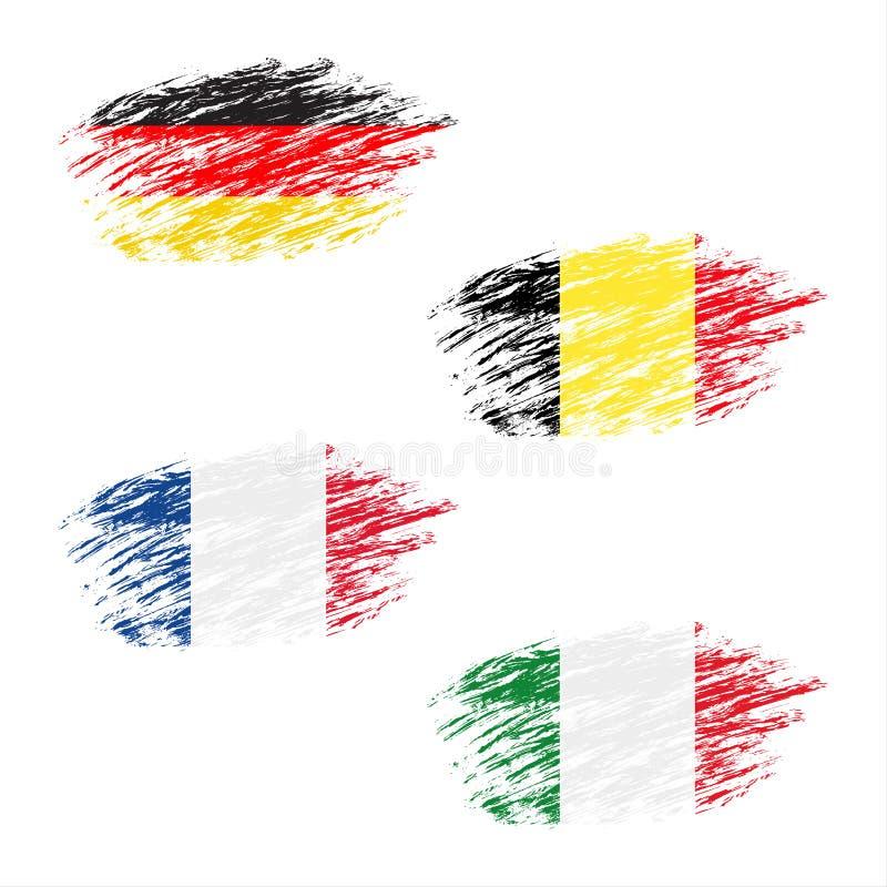 A bandeira belga, alemão, francesa e italiana nas raias, ajustou bandeiras do grunge ilustração do vetor