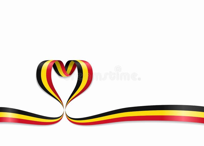 Bandeira belga fita coração-dada forma Ilustração do vetor ilustração stock