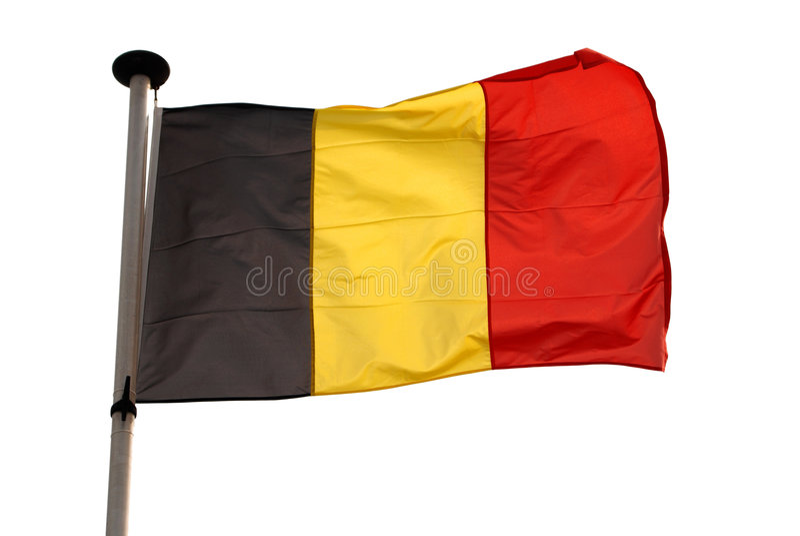 Bandeira belga isolada com trajeto de grampeamento foto de stock royalty free