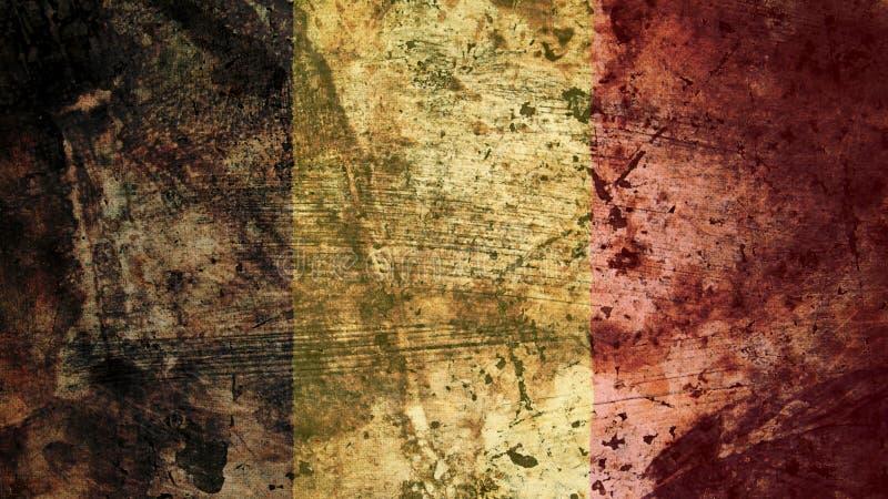 Bandeira belga muito suja, textura do fundo do Grunge de Bélgica ilustração royalty free