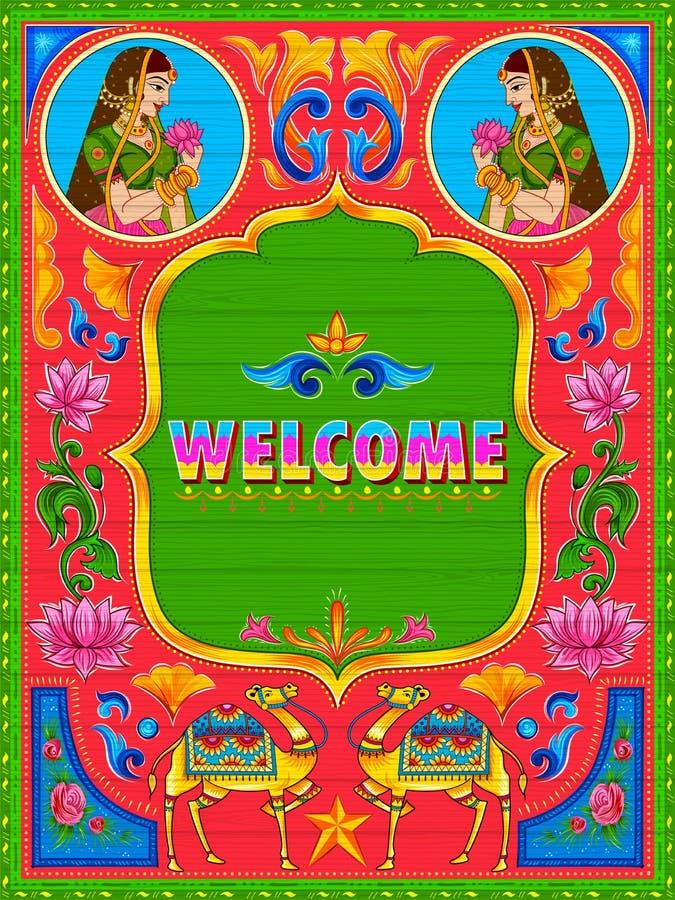 Bandeira bem-vinda colorida no estilo do kitsch da arte do caminhão da Índia ilustração stock