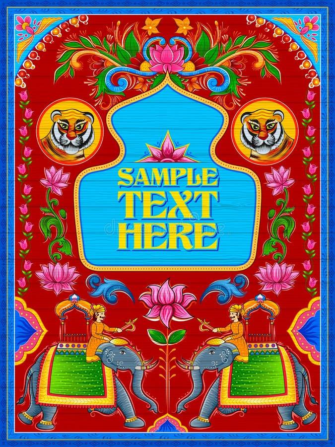 Bandeira bem-vinda colorida no estilo do kitsch da arte do caminhão da Índia ilustração royalty free
