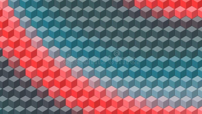 Bandeira bonita do papel de parede com, projeto abstrato, testes padrões geométricos, cubos, vermelho, azuis ilustração stock