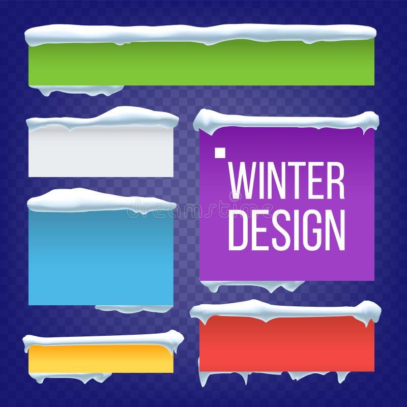 A bandeira, botão com neve tampa o vetor Elemento do gelo do inverno do ano novo Ilustração isolada efeito congelada ilustração stock