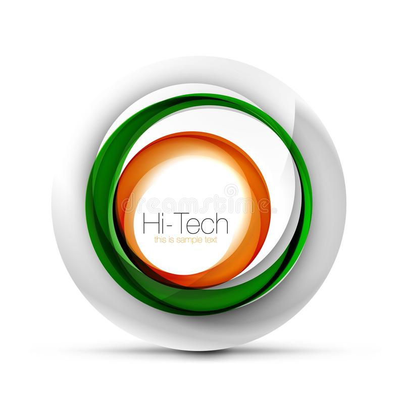 Bandeira, botão ou ícone da Web da esfera do techno de Digitas com texto Projeto lustroso do círculo do sumário da cor do redemoi ilustração stock