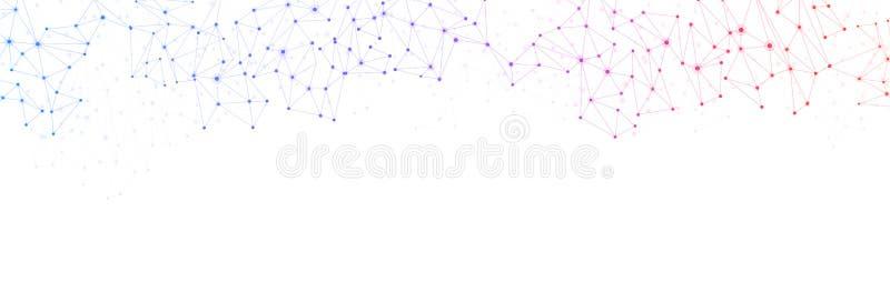 Bandeira branca de uma comunicação global com rede colorida ilustração royalty free