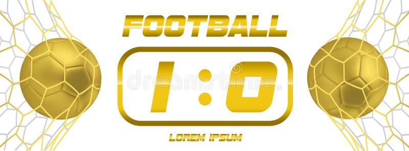 Bandeira branca do futebol do ouro ou do futebol dourado com a bola 3d e placar no fundo branco Objetivo do fósforo do jogo de fu ilustração do vetor