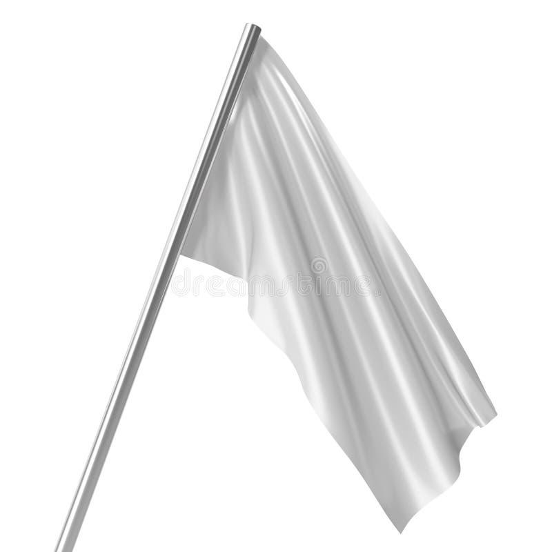 Bandeira branca no modelo vazio do mastro de bandeira em repouso, bandeira isolada no fundo branco Modelo vazio para seus projeto ilustração stock
