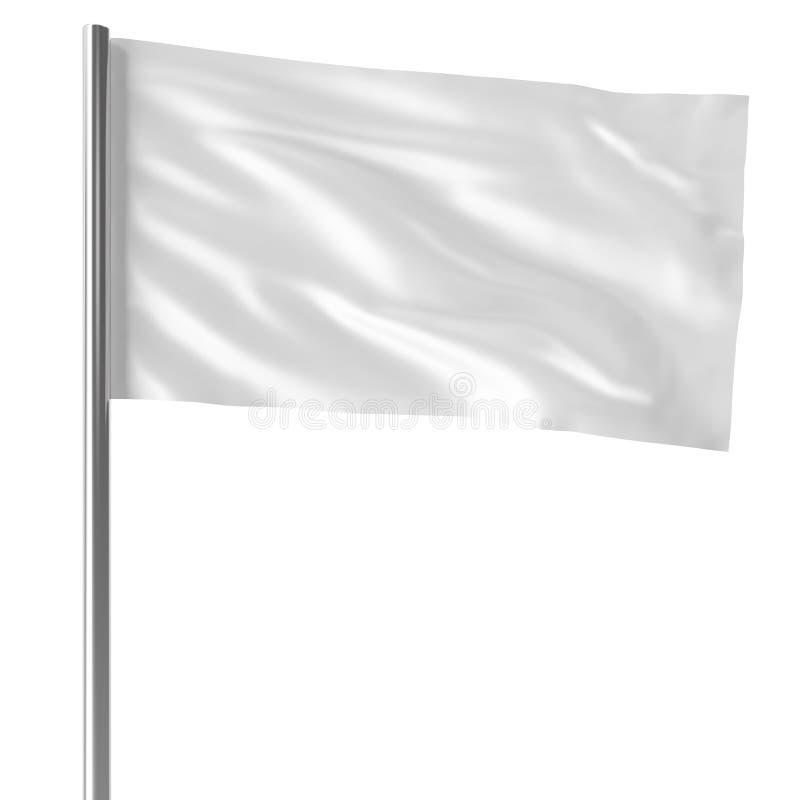 Bandeira branca no voo do mastro de bandeira no modelo vazio do vento, bandeira isolada no fundo branco Modelo vazio para o seu ilustração royalty free