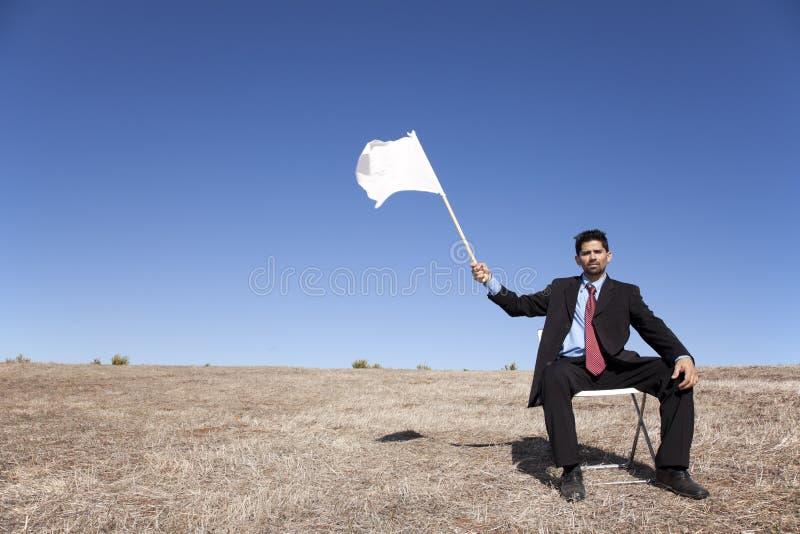 Bandeira branca para a rendição imagens de stock royalty free