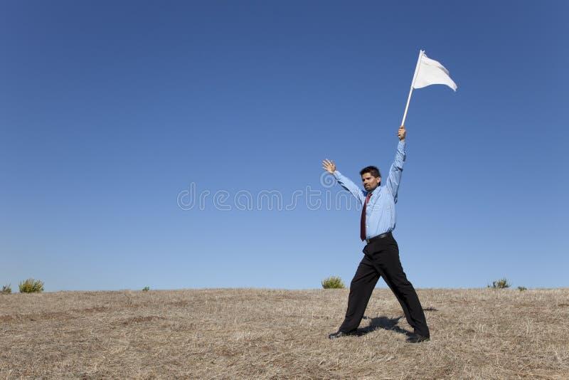 Bandeira branca para a rendição fotos de stock