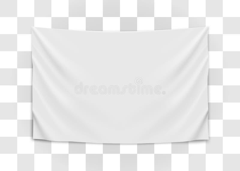 Bandeira branca vazia de suspens?o Conceito vazio da bandeira ilustração royalty free