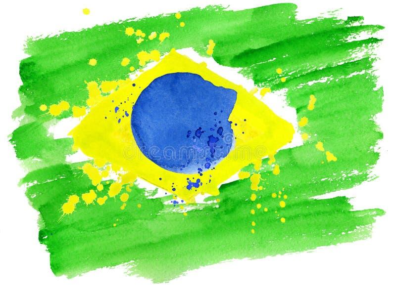A bandeira brasileira feita de colorido espirra ilustração stock